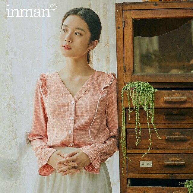 INMAN 2020 Frühling Neue Ankunft Literarischen Retro Jugendliche Stil V Kragen Einreiher Blume Patchwork Lose Stil Frauen Bluse