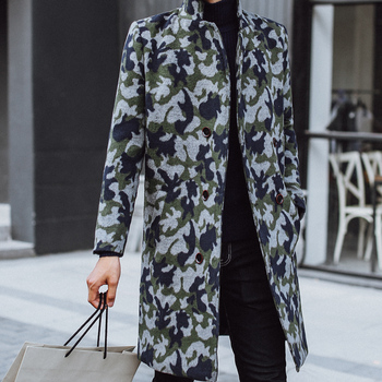 Long Thick Warm Jacket Camouflage Woolen Man Windbreaker Male Loose Coat British Style Autumn Wool Mens Trench Coats
