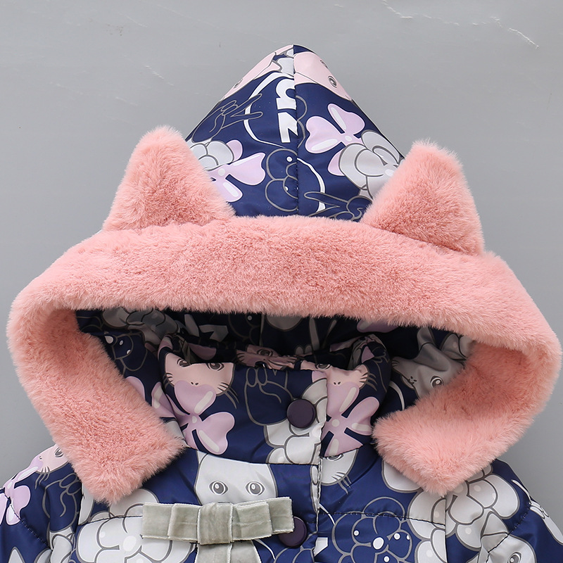 2019 Kids Baby Girls Jackets Baby Clothing Kids Hooded Coats Winter Toddler Warm Cartoon Printed Jacket Baby Outerwear 2-5Y 4