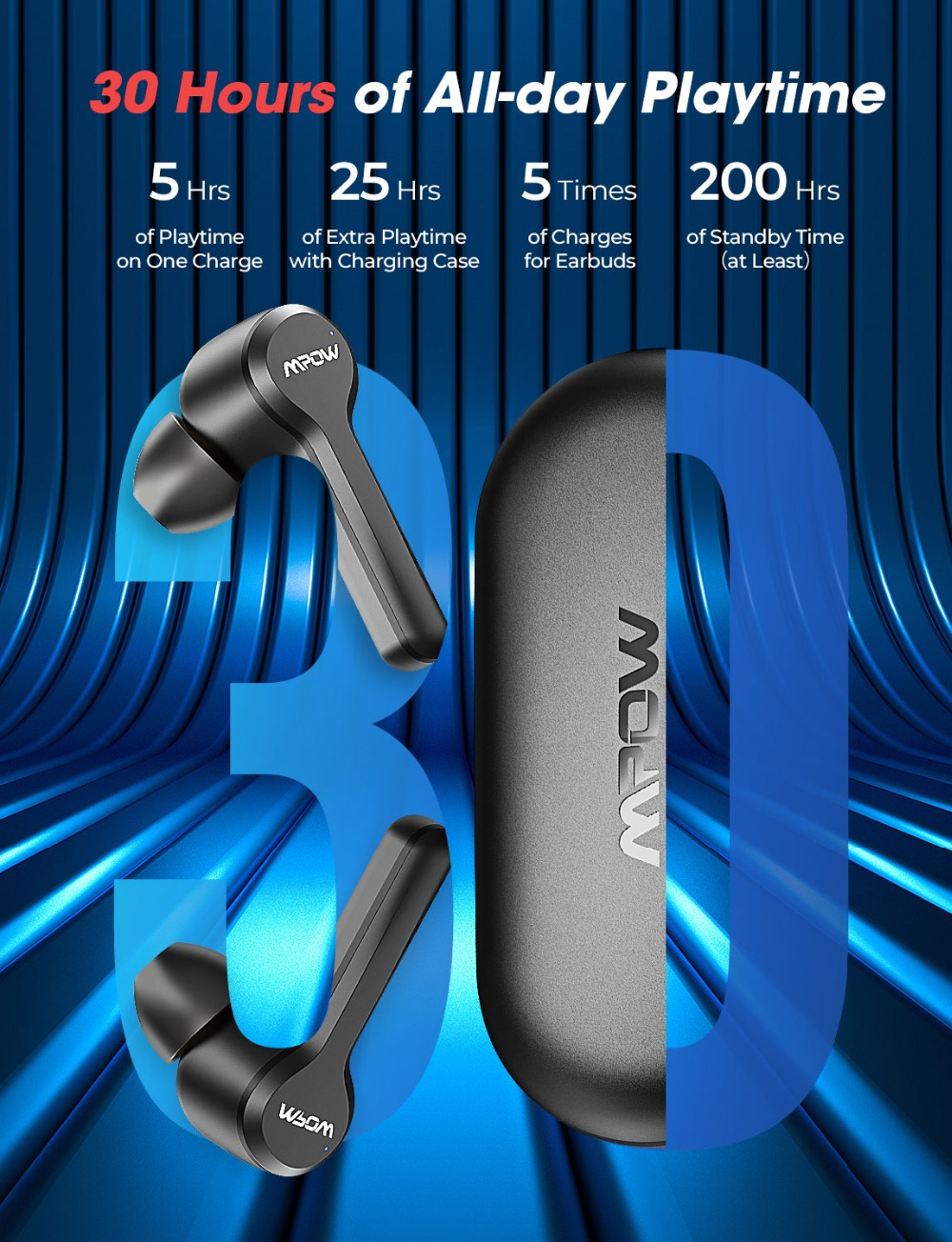 Mpow M9 TWS Earbuds True Wireless Bluetooth 5.0 Headphone IPX7 Waterproof Earphone With Charging Case 30H Playtime For iPhone 11 PK SoundPEATS TWS Earbuds (1)