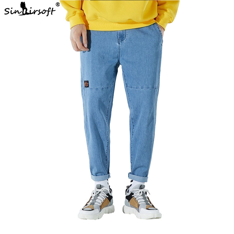 New 2019 Summer Men's Blue Jeans Men's Wide Leg Overalls Jogging Pants Quality Cotton Jeans Street Casual Wild XXXL