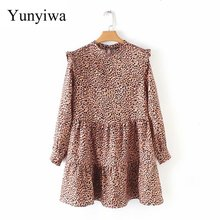 2020 Women Vintage Pleated Ruffles Leopard Print Mini Dress Female O Neck Long S