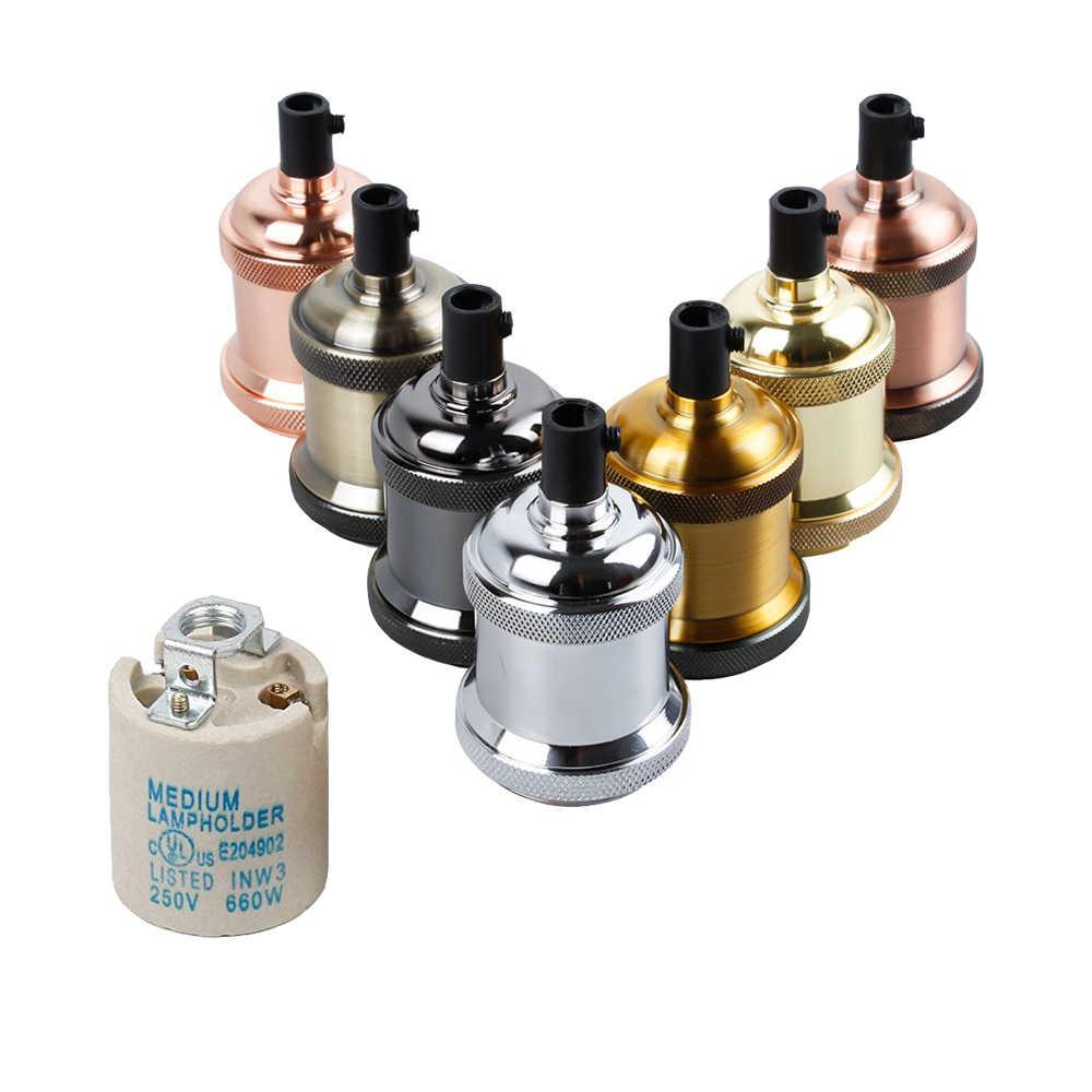 Base de lámpara de cerámica y porcelana, enchufe de luz Edison de cerámica, soporte de enchufe E27, accesorios de lámpara Retro Industrial