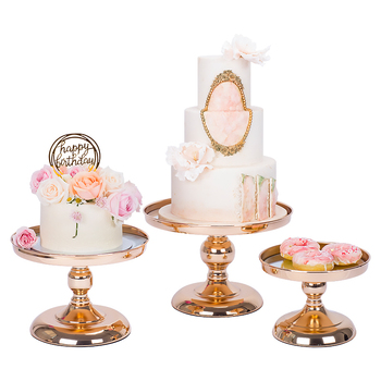 1 Pcs -5 Pcs Round -top Mirror Wagon The Dessert Tray Risers Set (gold Silver)