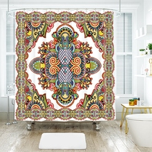 3d European Colorful Flowers Totem Design Pattern Shower Curtains Waterproof Thickened Bath for Bathroom Customizable