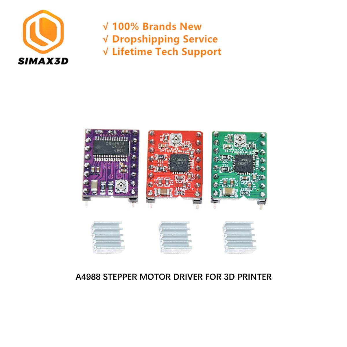 SIMAX3D Stepper Motor Driver A4988 DRV8825 Reprap Stepper Driver Module+ Heat Sink With Sticker For DIY 3D Printer Accessories