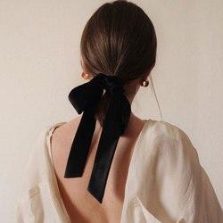 Vintage Großen Schwarzen Samt Bogen Haar Band Haarnadeln für Frauen Mädchen Lange Haar Krawatte Weibliche Haar Clip & Band Barrettes zubehör Geschenk