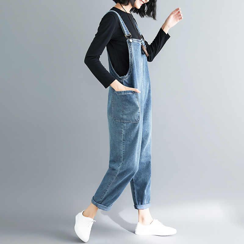 Летние комбинезоны для женщин джинсовый комбинезон большого размера свободные повседневные джинсы костюмы, женские комбинезоны широкие повседневные джинсовые комбинезоны