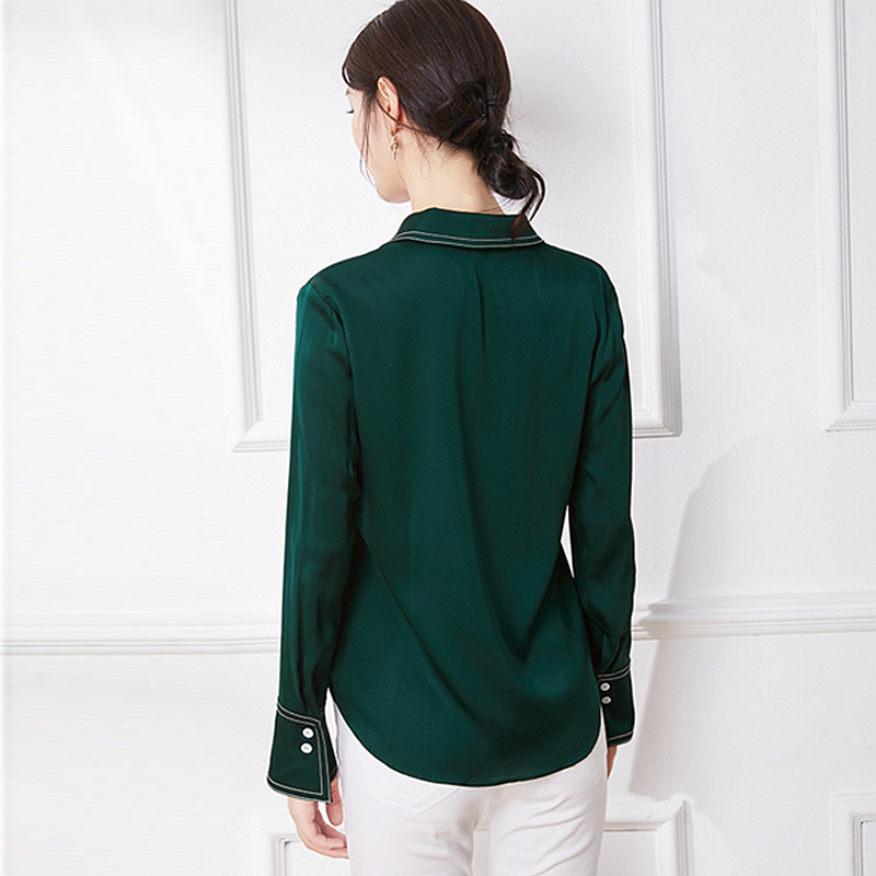 High Quality 100% Silk Blouse Women Shirt Casual Style Solid Turn down Neck Vintage Long Sleeves Tops Elegant Style New Fashion