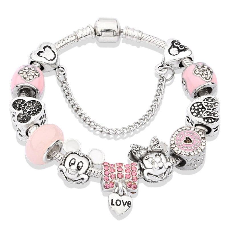 2020 nuevo Rosa goteando Pandora Inlay Zircon Mickey Minnie pulsera DIY colgante de corazón de dibujos animados lindo pulsera