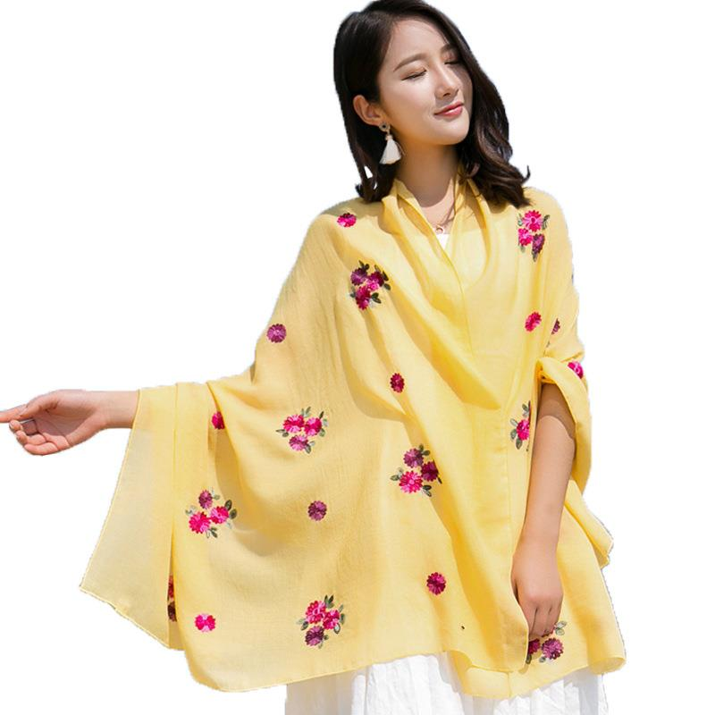 2019 Women Fashion Pashmina Scarf Ethnic Style Flower Embroidery Warm Scarf Solid Cotton Scarfs For Ladies Echarpe Foulard Femme