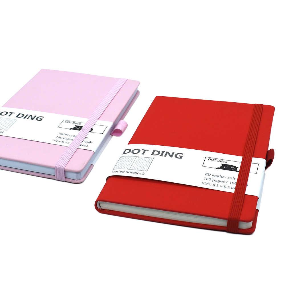 Cahier à puces à points A5 100 GSM | Couverture souple en cuir PU, papier blanc ivoire, Agenda fait à la main, pour Journal, Agenda, 160 pages