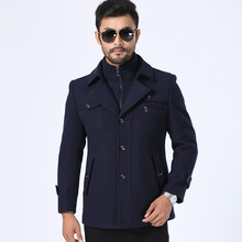 Thickened wool coat mens long middle-aged mens, blue men  cashmere