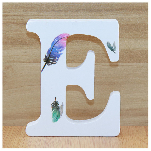 1pc 10cm Wooden Letters Alphabet Name Letter Standing Feather DIY Handmade Design Height Art Crafts Home Decor 3.94 Inches 4