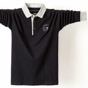 Image 3 - Uomini Autunno Camicia Camicia di Polo Mens Del Collare Del Basamento Polo Camicette Ricamo Casual Cotone Homme 5XL di Grandi Dimensioni Business Completa Magliette E Camicette camicia