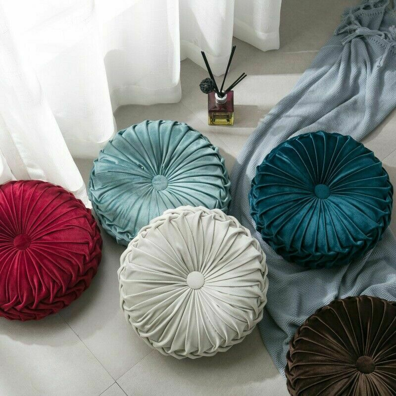 Newest-Home-Textile-Velvet-Pleated-Round-Solid-Color-Cushion-Pouf-Throw-Home-Soft-Cushion 4