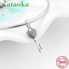 100% real 925 prata esterlina chave coração forma fina pingentes contas caber charme europeu original diy pulseira jóias fazendo