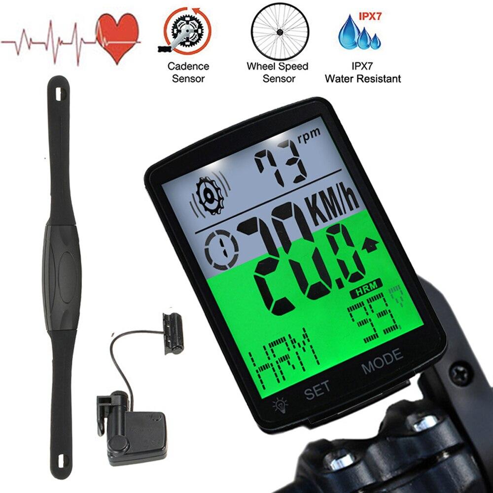 Waterproof Bike Bicycle Computer Wireless Bike Rainproof Odometer Cadence Sensor 2.8inch LCD Cycling Speedometer Heart Rate