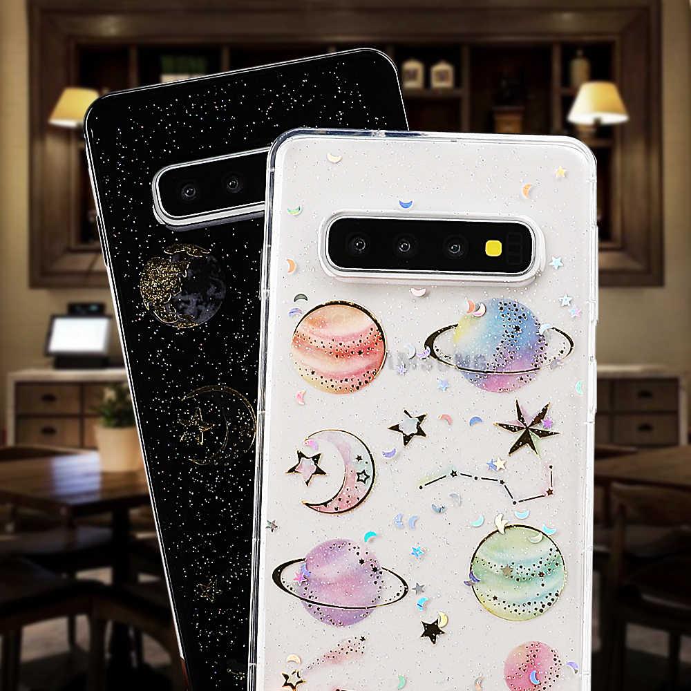 Funda de teléfono Epoxy para Samsung Galaxy Note 10 A10 A20 A30 A40 A50 A70 S10 A20E A10s planeta estrella transparente TPU