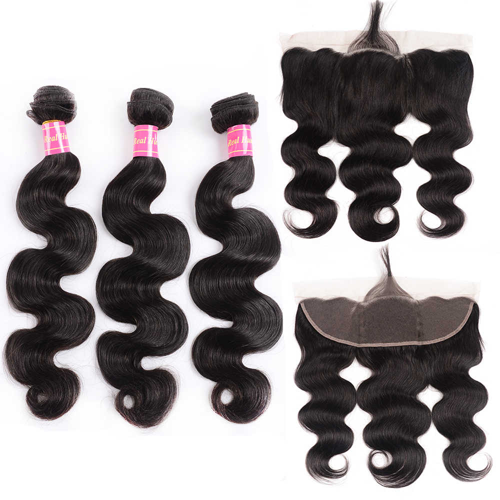 Body Wave 3 Bundles With Frontal Closure Brazilian Hair Weave Bundles with 13x4 Ear to Ear Lace Frontal Closure Remy Hair Weaves