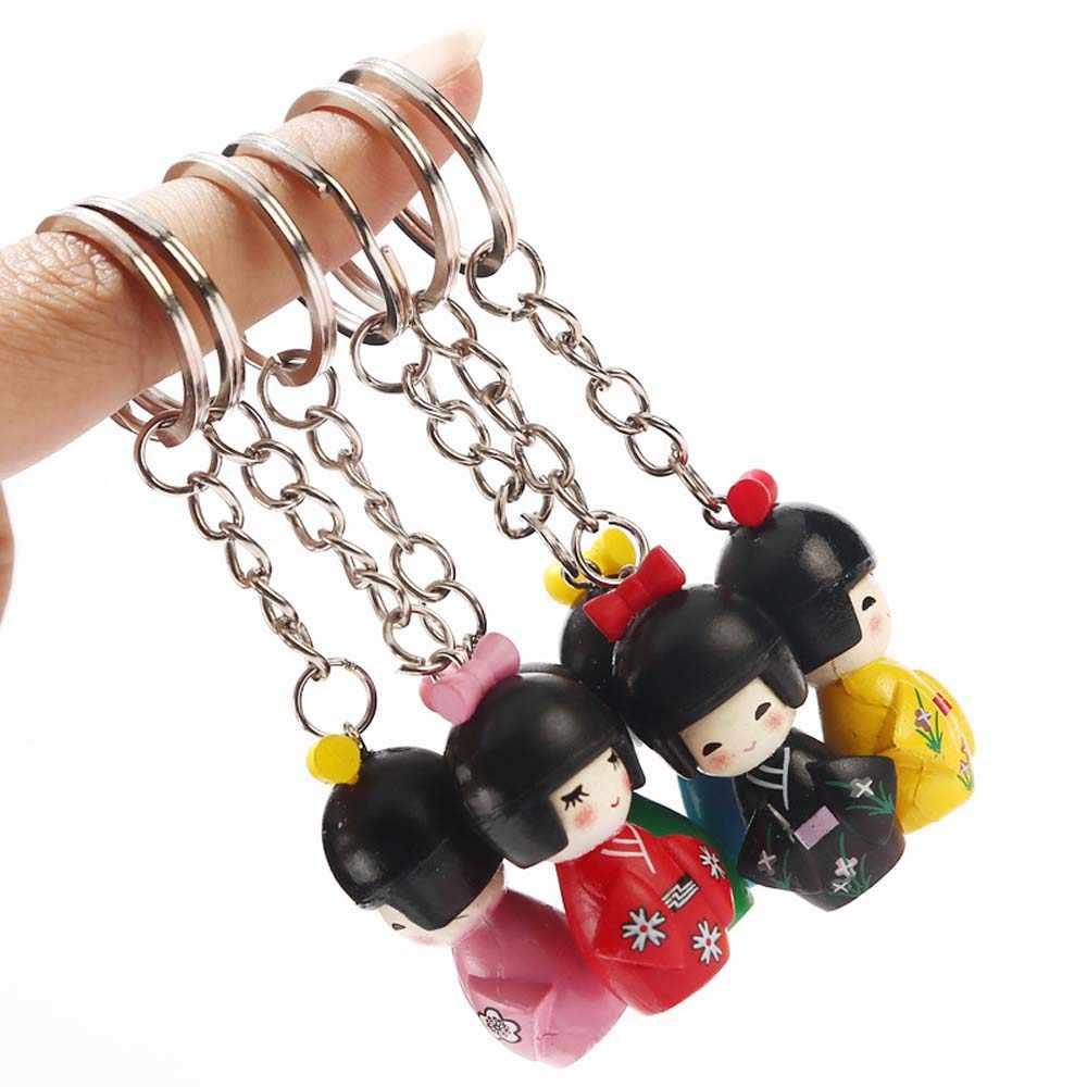 1 Pcs Colore Misto Giapponese Del Kimono Della Ragazza Del Fumetto Del Keychain Keychain Della Bambola Burattino Catena Chiave Delle Ragazze Del Sacchetto Dell'automobile Portachiavi Accessori