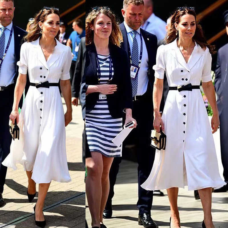 Kate Middleton Hoge Kwaliteit Nieuwe Damesmode Party Casual Kantoor Vintage Elegante Chic White Single Breasted Windjack Jurk
