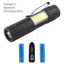 COB lantern charging flashlight AA 14500 battery camping hiking flash lights torchs led bulbs waterproof 300LM mini light