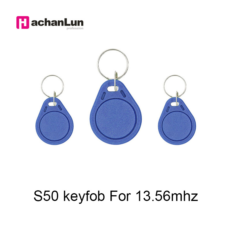 50pcs 13.56MHz RFID Key Badge Finder Card Token IC M1 S50 Attendance Management Keychain ABS Waterproof Keyfobs Tags