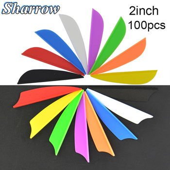 2inch Parabolic and Shield Rubber Feathers 100PCS  2'' Water Drop Archery Fletches Feather Arrow Fletching For Hunting Shooting 50 100pcs 1 75inch hunting arrow feather drop shape fletching high quality 7 color rubber feather vanes shooting accessories