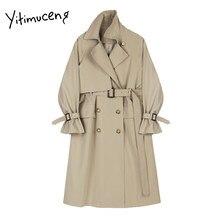 Trench-Coat avec ceinture à Double boutonnage pour femme, veste coupe-vent Simple, classique et longue, kaki, noir, printemps et automne