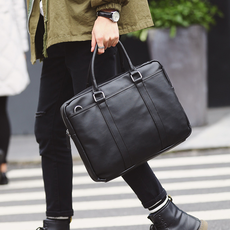 YICIYA Simple Men Briefcase 14inch Laptop Bags High Quality PU Leather Office Work Shoulder Bags Business Computer Bags 2019