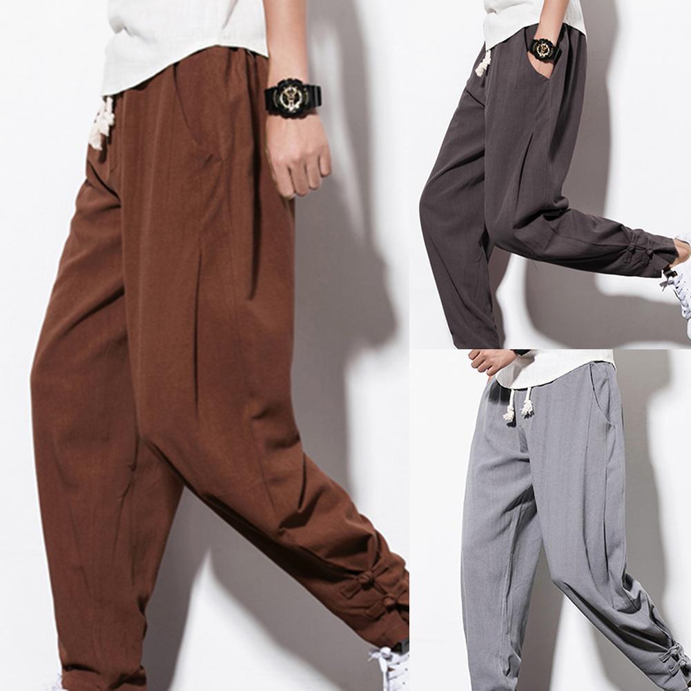2020 New Trendy Trousers Casual Men Drawstring Pockets Ankle Tie Cotton Linen Plus Size Loose Harem Pants Xmas Gift