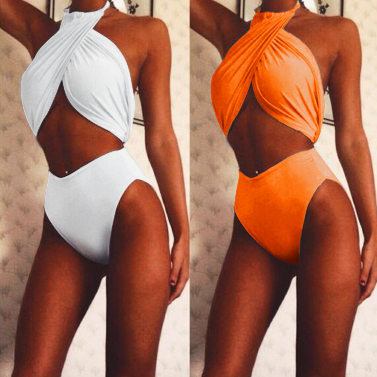 2018 Summer AliExpress Amazon Hot Selling WOMEN'S Swimsuit Europe And America Cross Halter Solid Color Two-piece Swimsuits Women