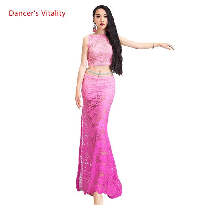 Belly Dance New Fashion Lace Top Long Skirt Set Summer Oriental Indian Dancing Training Outfits Sexy Cut Out Garments