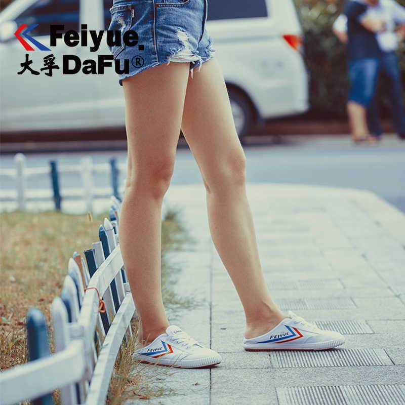 DafuFeiyue kanvas ayakkabılar erkek kadın yarım terlik platformu loafer'lar moda yeni rahat kaymaz nefes dayanıklı 506
