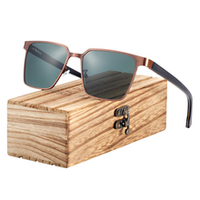 BARCUR Square Sunglasses Wood Polarized Stainless Steel Fram