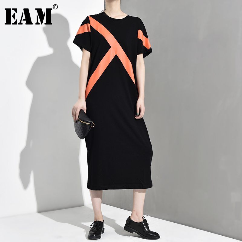 [EAM] 2020 New Spring Summer Round Neck Short Sleeve Hit Color Loose Pattern Line Stitch Long Dress Women Fashion Tide JY264