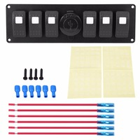 1 Set 12 24V 6 Gang White LED Rocker Switch Panel with Dual USB Voltmeter for Car RV Boat Marine|Car Switches & Relays| |  -