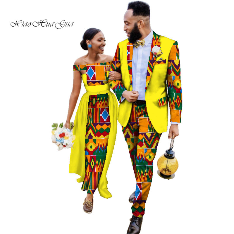 Two Piece Set African Dashiki Print Couple Clothing For Lovers Men's Blazer Suit Plus Women's Party Wedding Dress 6XL WYQ93