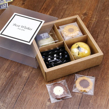 MissYe Store 10pcs/lot 4-grid frosted transparent kraft paper treat box wedding christmas decoration  gift packaging Pastry mousse cake