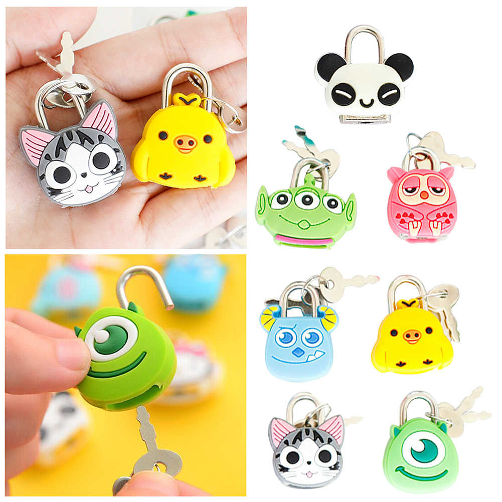 Cartoon Panda Mini Locks For Luggage Zipper Backpack Springer Owl Padlock Key Storage Cabinet Suitcase Locker