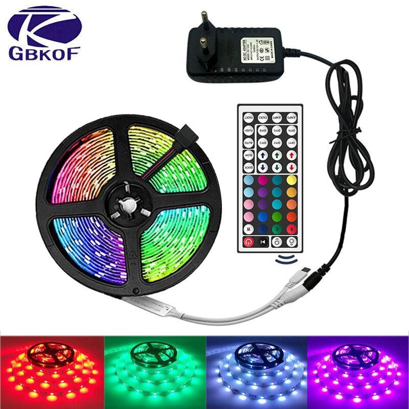 ไฟ LED Strip Light RGB 5050 SMD 2835 ริบบิ้น fita LED Light Strip RGB 5M 10M 15M เทปไดโอด DC12V 60LED 1M + + อะแดปเตอร์