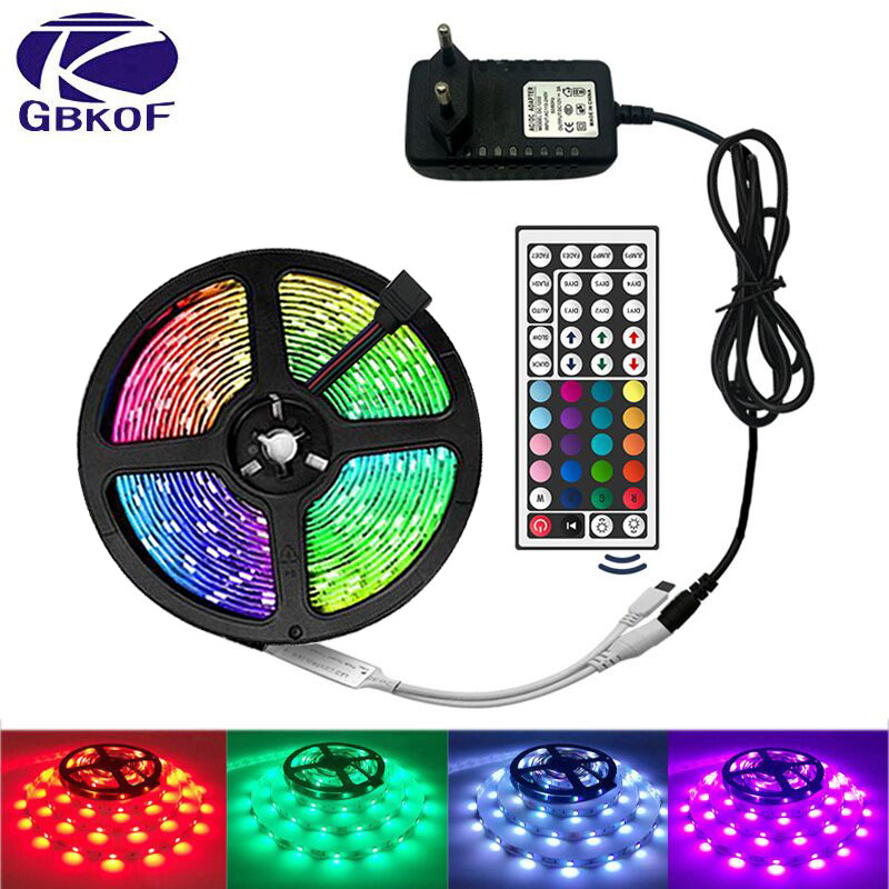 Luz de tira conduzida rgb 5050 smd 2835 fita flexível fita fita tira conduzida rgb 5 m 10 m 15 m fita diodo dc12v 60 leds 1 m + controle + adaptador