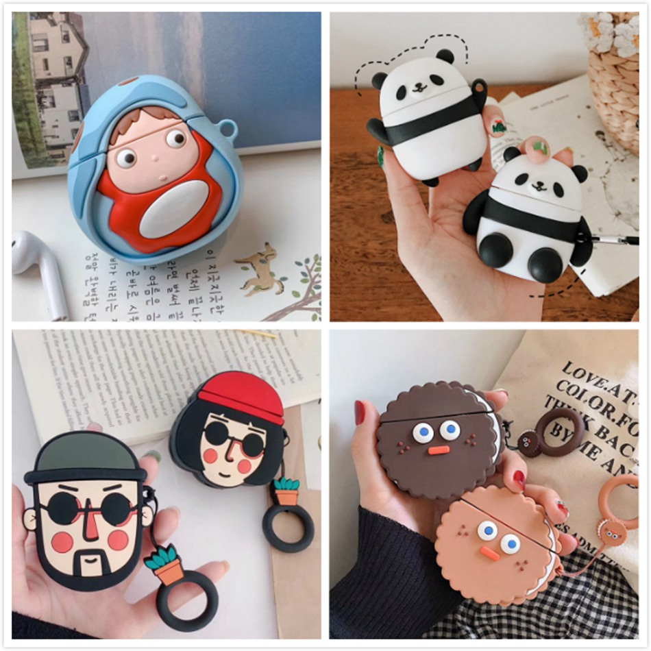 Bear Pig Earphone Case For AirPods 2 Case Cute Silicone Cartoon Animal Cover For Apple Air Pods Case Cat Protective Accessories