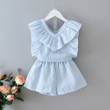 Children Clothing Sets 2020 New Fashion Kids Girls Summer Striped Suits T-Shirt and Pants Outfits Kid Baby Clothes Suits 2 6Y toddler girl outfits 2018 striped patchwork t shirt tops denim pants clothes kids 2 pcs autumn suits children outfits clothing