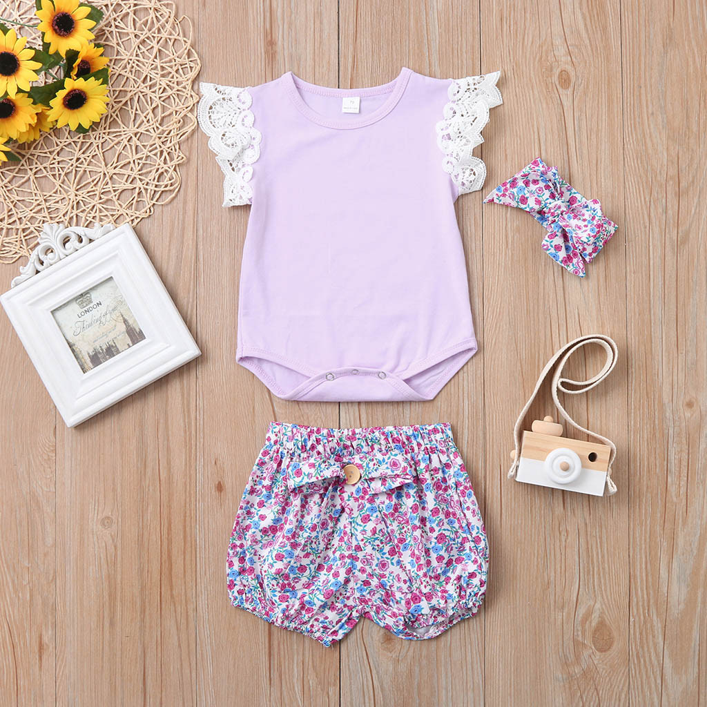Newborn Infant Baby Girl Lace Romper Bodysuit +Floral Shorts+Headbands Clothes Summer Kids Baby Girls Clothes Outfit Sets