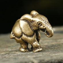 Vintage Pure Copper Solid Mini Elephant Figurines Lucky Desk Ornament Metal Brass Animal Statue Miniatures Home