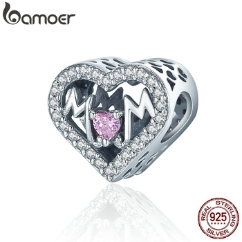 BAMOER Authentic 100% 925 Sterling Silver Heart MOM Letter Clear CZ Charm Fit Charm Bracelet DIY Jewelry Mother Gift SCC395