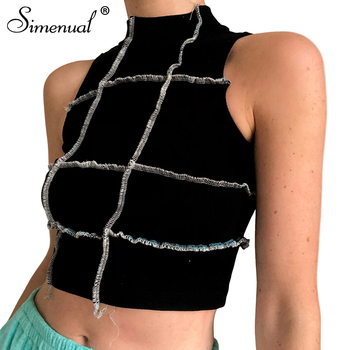 Simenual Patchwork Bodycon Frill Tank Tops Women Casual Sleeveless Streetwear Summer 2020 Crop Top Fashion Ribbed Skinny Tank frill trim smock crop cami