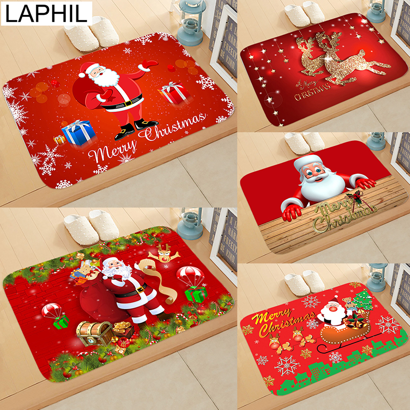 >LAPHIL 2019 Christmas Door Mat Flannel Outdoor Carpet Santa Snowman Ornaments Merry Christmas <font><b>Decorations</b></font> for Home New Year <font><b>Gift</b></font>